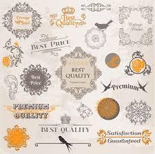 vintage ornaments labels with logo vector vector label vector