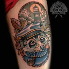 neo traditional nautical racoon by manu tattoonow