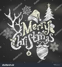 chalk merry christmas design handwritten text stock vector