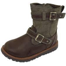 biker boots girls childrens kids flat brown zip up winter biker boots