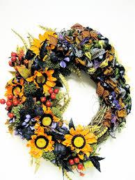 fall halloween wreath custom designed yellow purple and green silk