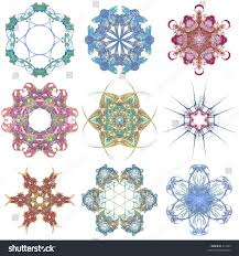 collection 6sided fractal ornaments stock illustration 312483
