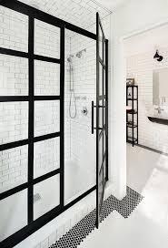 White Shower Door Black Steel Frame Shower Enclosure Transitional Bathroom