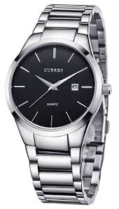 black bracelet mens watches images Voeons silver steel band watches for men classic jpg