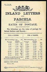 1889 inland letter and parcel postage rates