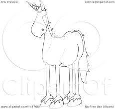 clipart of a cartoon black and white lineart unicorn royalty