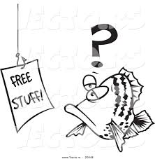 vector of a cartoon fish staring at a free stuff sign coloring
