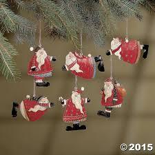 amazon com set of 6 painted tin santa folk decoration christmas
