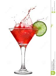 martini cocktail splash red cocktail with splash and lime royalty free stock photos