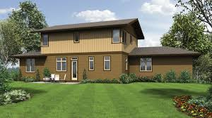 the renicker craftsman styled sloped lot house plans rear rendering web mascord house plan the renicker craftsman styled sloped lot plans