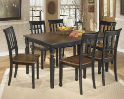 ashley owingsville 7 piece two tone finish dining table and chairs set