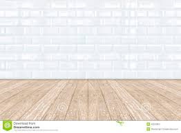 white ceramic brick tile wall and wooden floor stock photo image