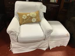 Ethan Allen Leather Chairs Ethan Allen Leather Club Chair And Ottoman Slip Covered In White