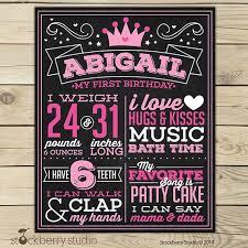 birthday chalkboard princess birthday chalkboard sign printable princess 1st