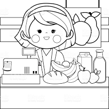 milk coloring pages grocery store employee at the counter black and white coloring