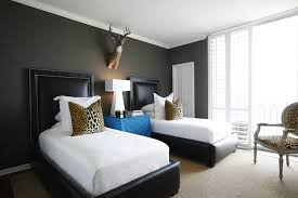 Kids Bedroom Wall Colors Blue And Gray Boys Bedroom With Baseball Headboards Transitional
