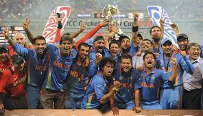 indian players celebrate after winning cricket cup 2011