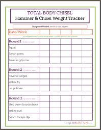 total body chisel weight tracker worksheet fitness pinterest