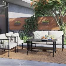 Patio Furniture Conversation Sets by Fernhill 4 Pc Metal Patio Conversation Set Linen Threshold