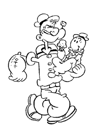 popeye with his sun swee u0027pea coloring pages hellokids com