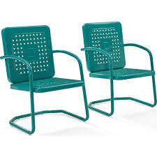 crosley bates sofa glider crosley co1025 tu bates outdoor classic metal single chair in turquoise