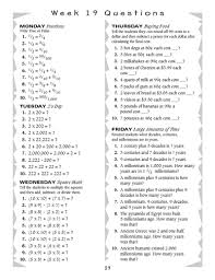 math questions for every day of the week math skills math and