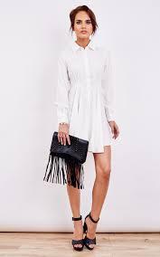 ivory long sleeve skater shirt dress silkfred