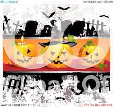 clipart grungy halloween background with tombstones and a