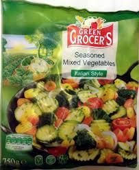 seasoned mixed vegetables italian style asia green garden 750g