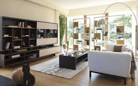 contemporary open living room with black wall units and storage