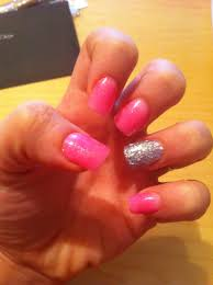 barbie pink glitter silver acrylic nails rock n roll nails