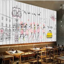 custom mural fashion mural painted wooden coffee shop