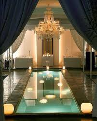 small indoor swimming pool with chandelier indoor pools