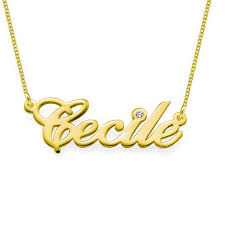 14k Gold Name Plates 14k Gold Nameplate Necklace With Diamond Be Monogrammed
