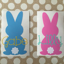 personalized easter bunnies easter bunny decal easter bunny from mmvinylcreations