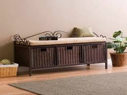 entryway bench with baskets and cushions the modern entryway storage bench with cushion household remodel