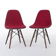red pair herman miller vintage original eames upholstered dsw
