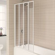 folding bath screens heat plumb aqualux aqua 4 4 fold bath screen 840mm wide white frame clear