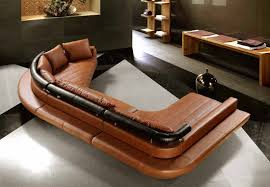 Floor And Home Decor Decor Small Brown Leather Sectional Sofa With Wooden Floor And