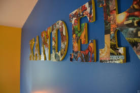 Kids Room Letters by Comic Book Modge Podge Wooden Letter Name Collage Close Up Diy