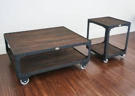 industrial coffee table with wheels matching industrial furniture wood top coffee table end table
