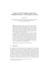 adoption of cloud computing in supply chain management solutions