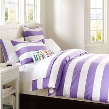 Girls Queen Size Bedding by Amethyst Purple And White Girls Rugby Stripe Elegant Feminine