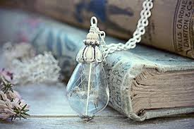 dandelion seed necklace fairytale gift jewelry make a wish pendant