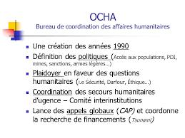bureau de coordination des affaires humanitaires gouvernances des grandes organisations humanitaires du système