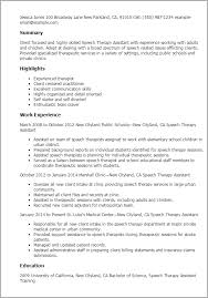 Resume Examples For Jobs For Students by Professional Speech Therapy Assistant Templates To Showcase Your