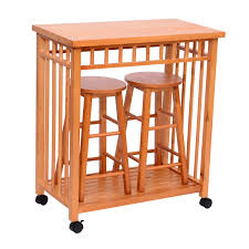 portable kitchen island with stools homcom 32 rolling wooden storage cart kitchen trolley