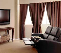 traditional apartment style with burgundy blackout curtains in uk