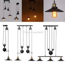 industrial pulley pendant light retro industrial pulley pendant l retractable lifting pully