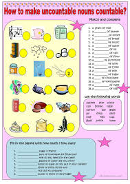 how to make uncountable nouns countable key included worksheet